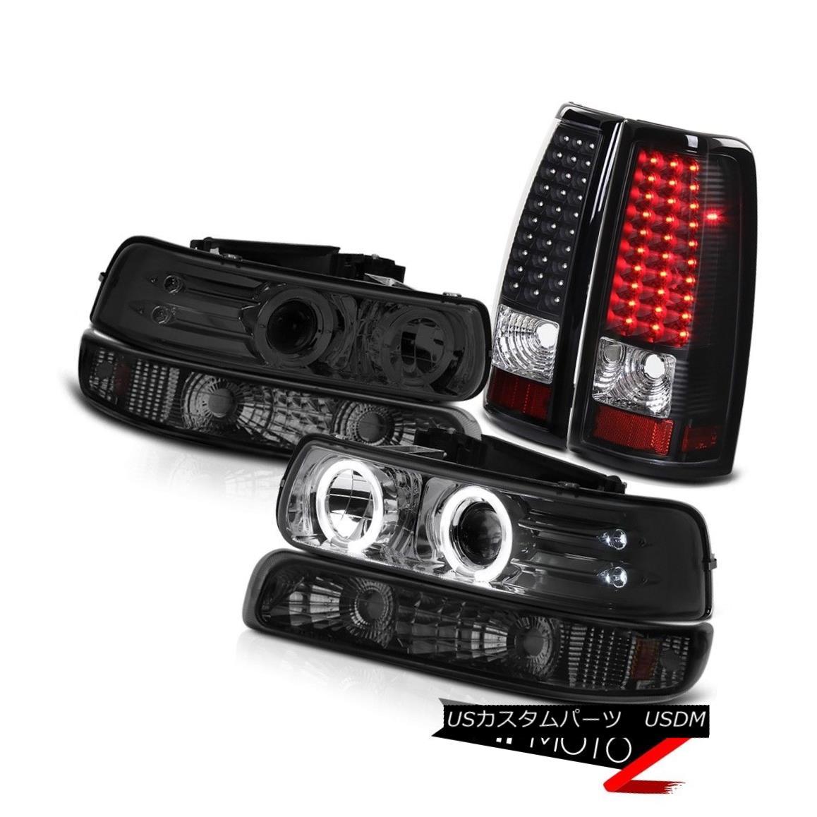 ヘッドライト 1999-2002 Silverado Vortec Max Smoke LED Halo Headlights Bumper Black Taillights 1999-2002 Silverado Vortec Max Smoke LEDハローヘッドライトバンパーブラックテイルライト