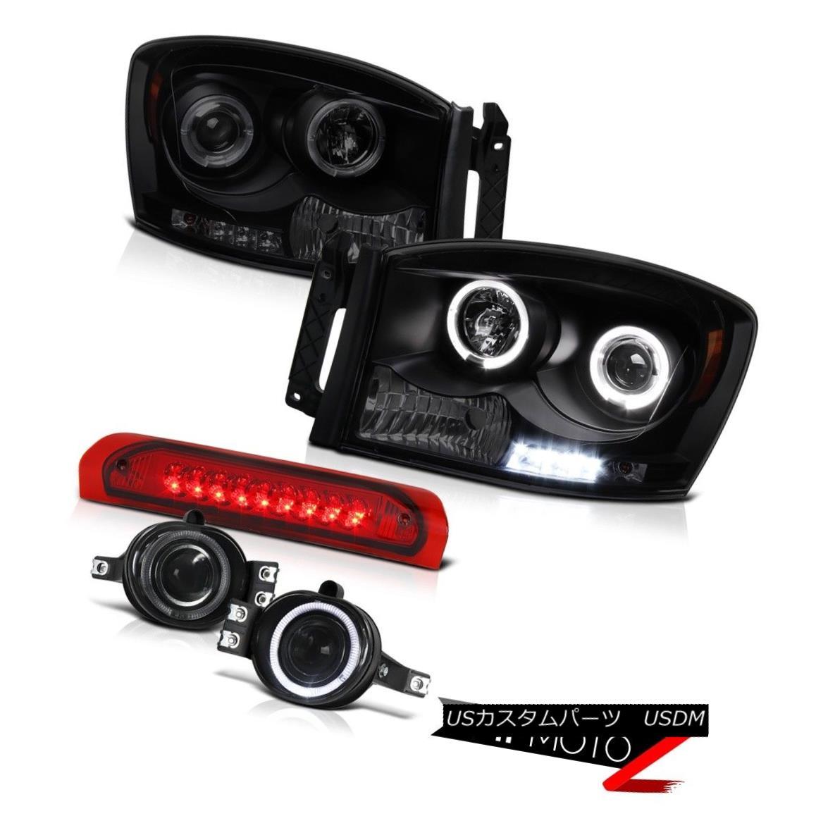 ヘッドライト 2006 Dodge Ram 1500 2500 Black Smoke Halo Headlight 3RD Brake Cab Light Taillamp 2006ダッジラム1500 2500ブラックスモークハローヘッドライト3RDブレーキキャブライトタイルランプ
