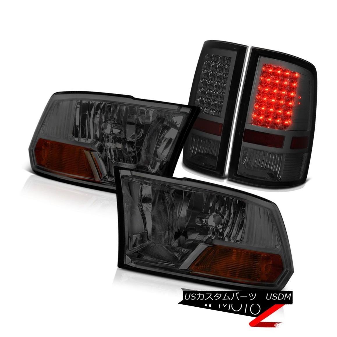 ヘッドライト MATCHING SMOKE Headlights+LED Tail Light 2009-2010-2011-2012-2013-2018 Dodge Ram ヘッドライト+ LEDテールライトとのマッチング2009-2010-2011  -2012-2013-201  8 Dodge Ram