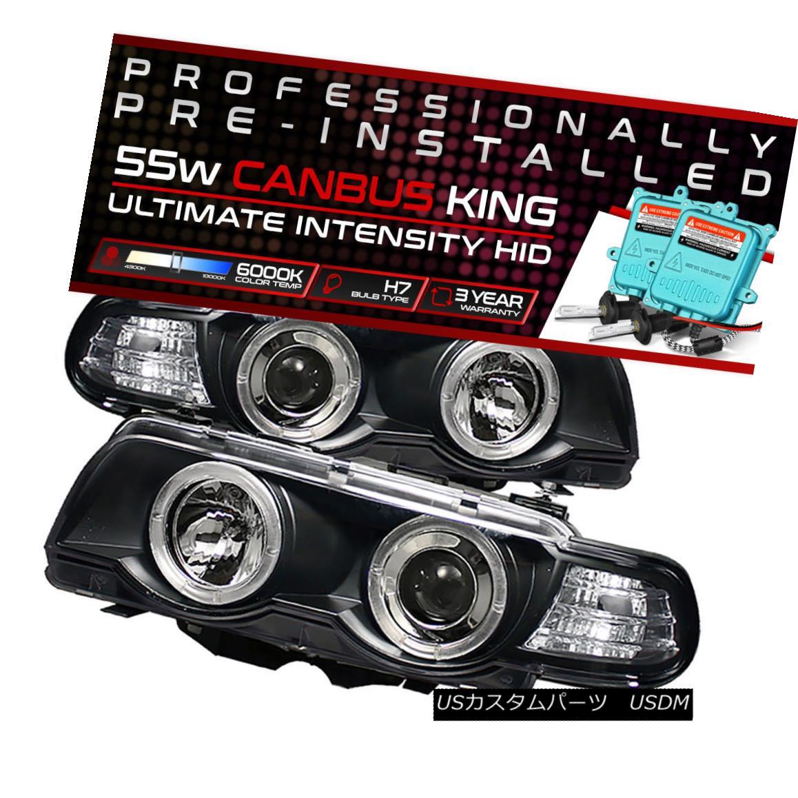 ヘッドライト !55W HID Built-In! 99-01 BMW E38 7-SERIES Black Halo Projector Headlight Lamp !55W HID内蔵! 99-01 BMW E38 7シリーズブラックハロープロジェクターヘッドライトランプ