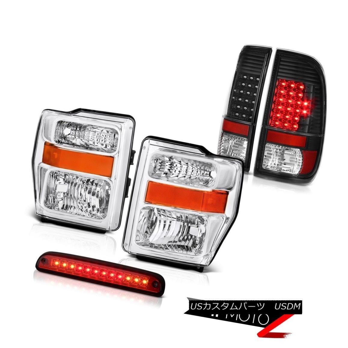 ヘッドライト 08 09 10 F350 Power Stroke V8 Headlights Black Brake Tail Lights High Stop LED 08 09 10 F350パワーストロークV8ヘッドライトブラックブレーキテールライトハイストップLED