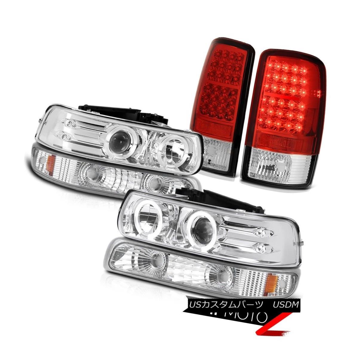ヘッドライト Dual Halo Headlights Euro Bumper Brake Signal LED Tail Light 00-06 Suburban 8.1L デュアルHaloヘッドライトユーロバンパーブレーキ信号LEDテールライト00-06郊外8.1L