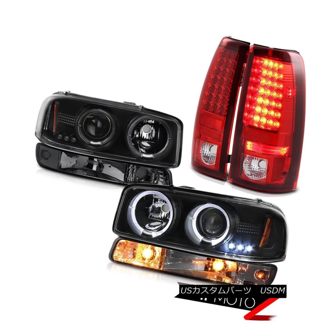 ヘッドライト 99-06 Sierra 6.0L Parking brake lights smokey bumper lamp matte black headlamps 99-06 Sierra 6.0L駐車ブレーキライトスモーバンパーランプマットブラックヘッドランプ
