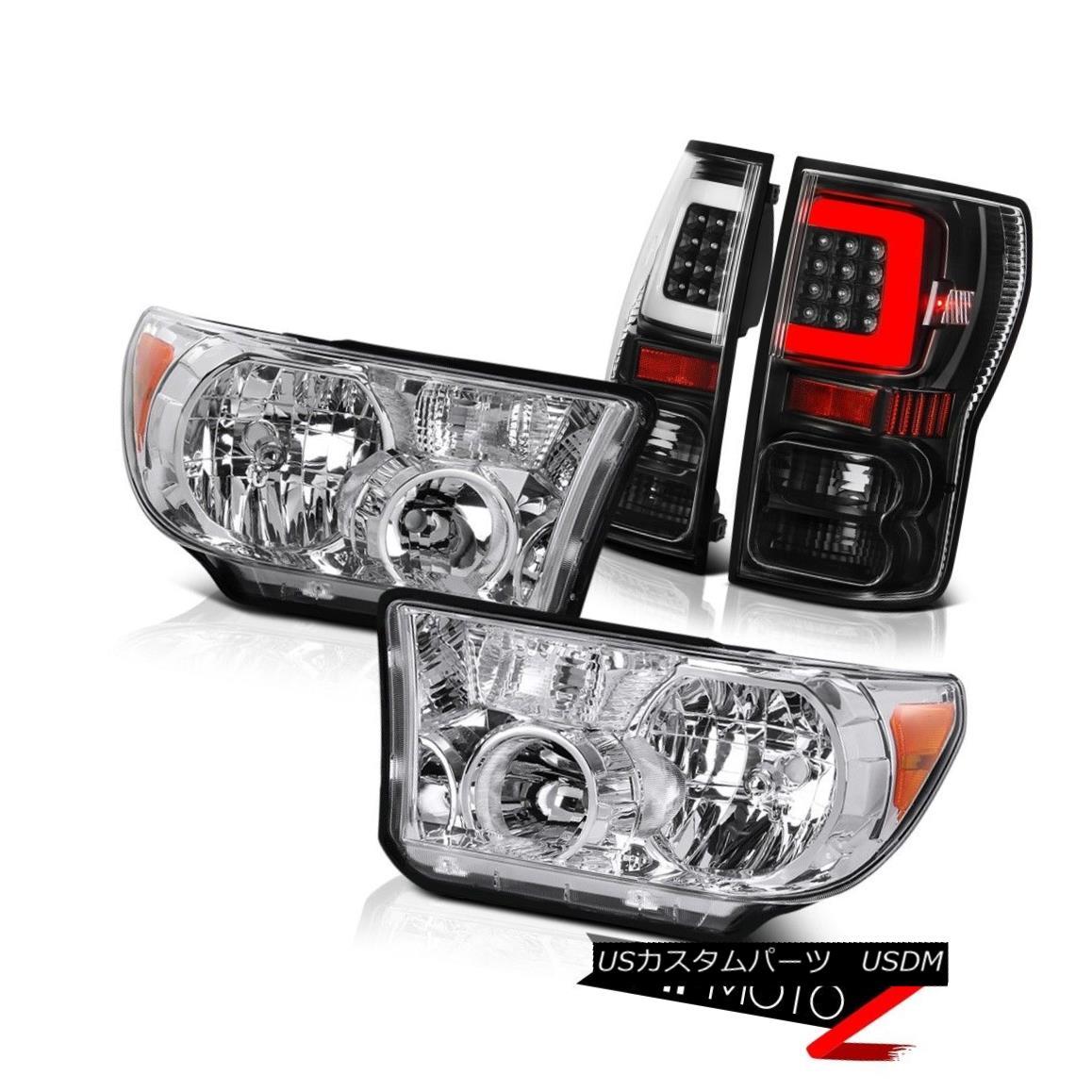 ヘッドライト 07 08-11 12 13 Toyota Tundra Black Neon Tube Rear Crystal Clear Head Lamps Set 07 08-11 12 13トヨタトンドラブラックネオンチューブリアクリスタルクリアヘッドランプセット