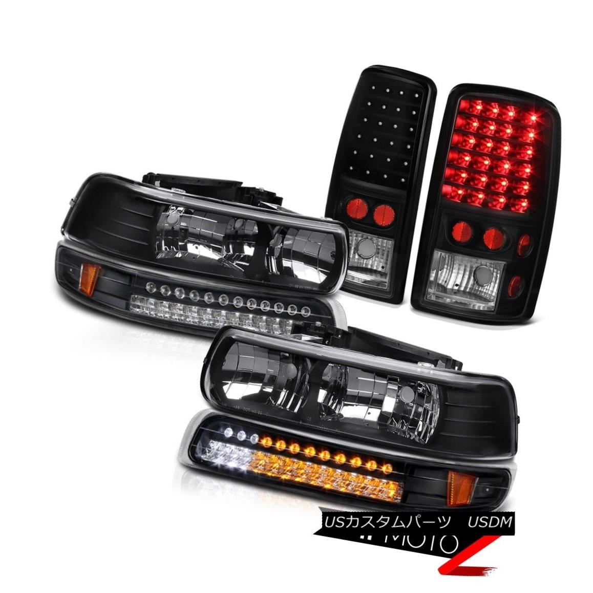 ヘッドライト 00-06 Tahoe 5.3L Left Right Headlights LED Onyx Black Bumper Bulbs Tail Lights 00-06 Tahoe 5.3L左ライトヘッドライトLEDオニキスブラックバンパーバルブテールライト