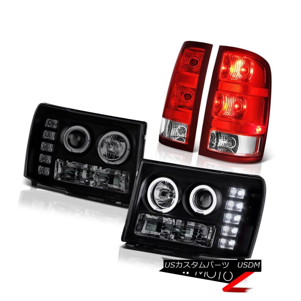 ヘッドライト 08-14 GMC Sierra 3500 SLE Tail Lamps Headlamps Factory Style OE Style Angel Eyes 08-14 GMC Sierra 3500 SLEテールランプヘッドランプ工場スタイルOEスタイルAngel Eyes
