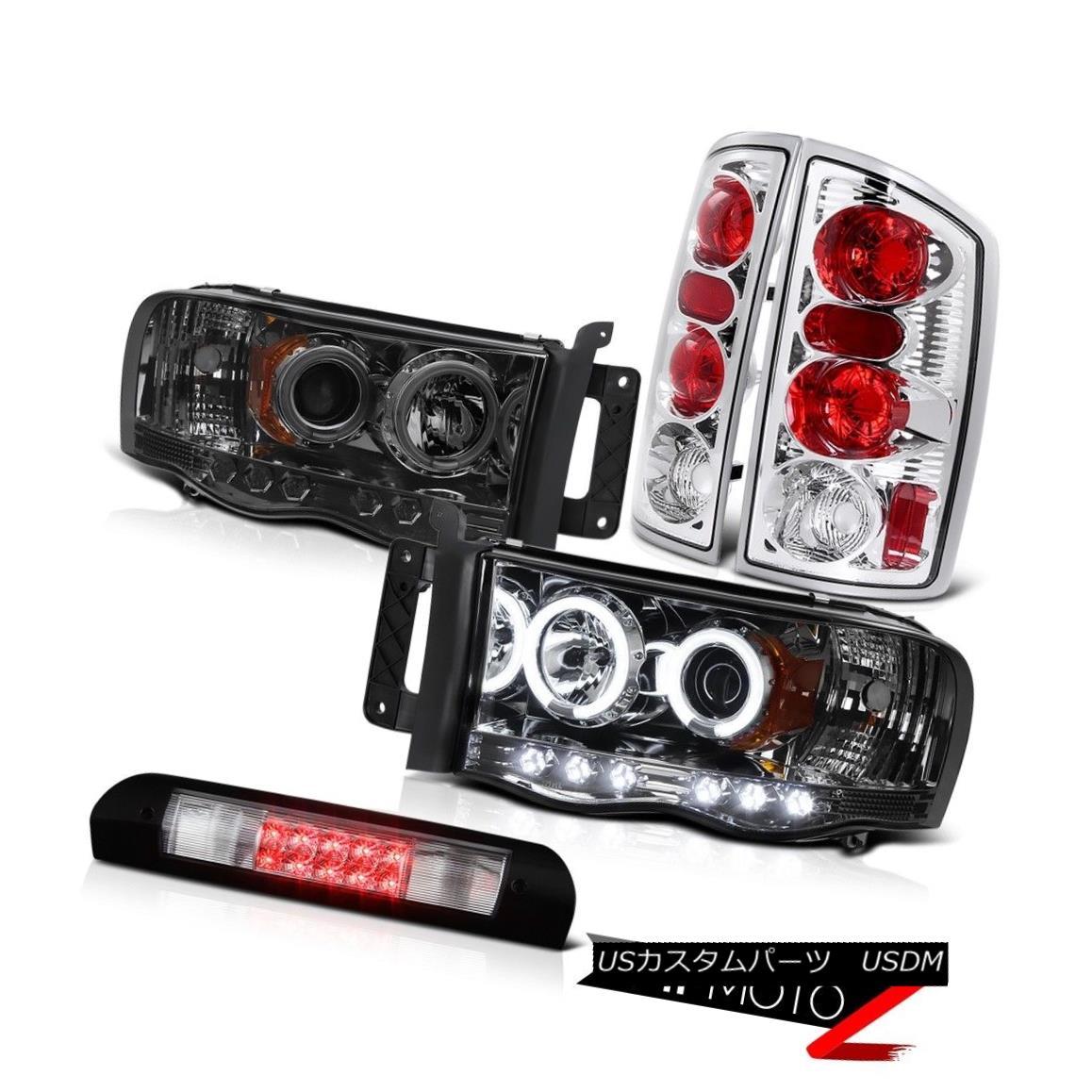 ヘッドライト Tinted CCFL Angel Eye Headlight Rear Tail Lights 3rd Cargo LED 02-05 Dodge Ram ティンテッドCCFLエンジェルアイヘッドライトリアテールライト3rdカーゴLED 02-05 Dodge Ram