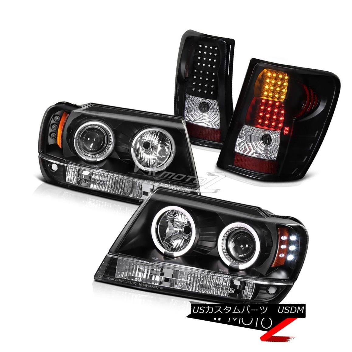 ヘッドライト 99-2004 Jeep Grand Cherokee Laredo Black Halo Projector Headlight LED Tail Light 99-2004ジープグランドチェロキーラレドブラックハロープロジェクターヘッドライトLEDテールライト