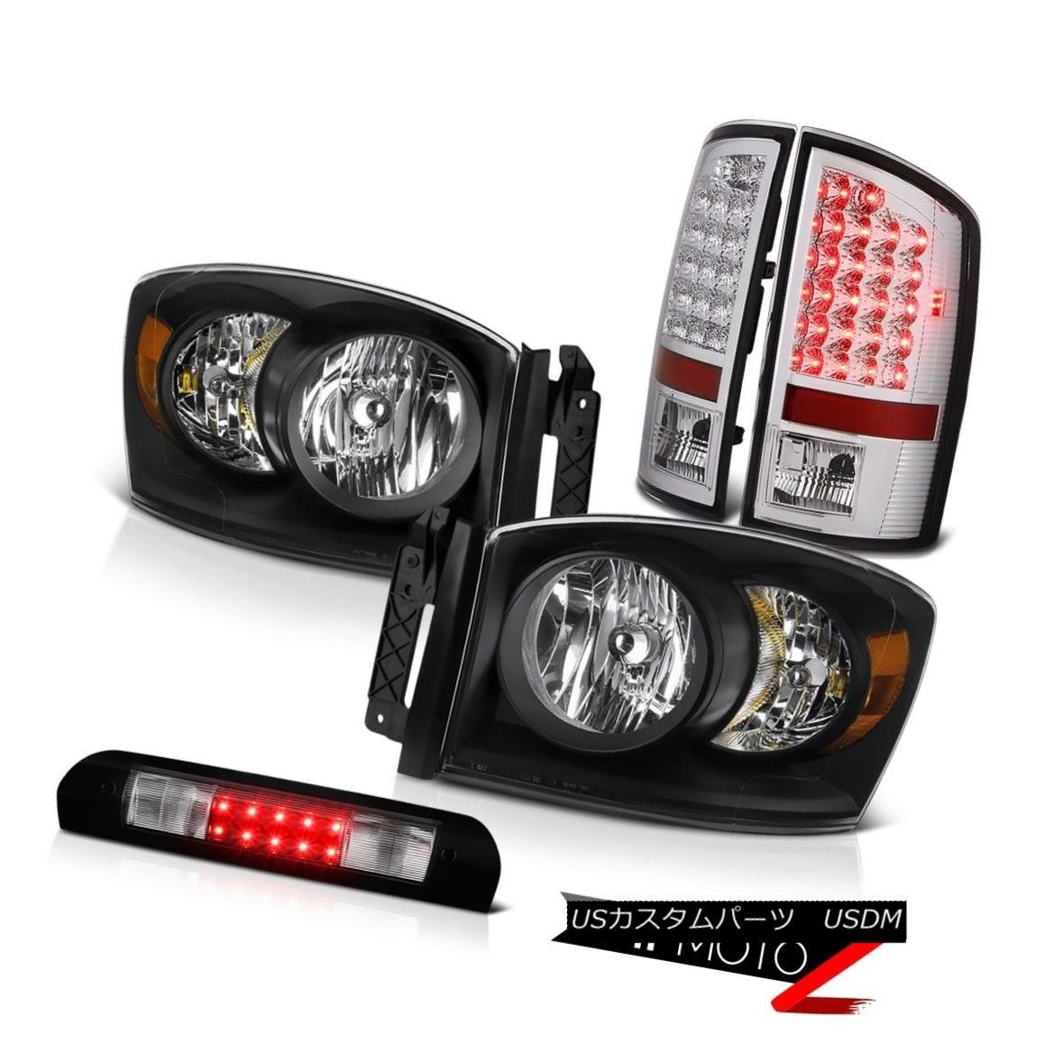 ヘッドライト Inky Black Replacement Headlights SMD Brake Taillight High Stop LED 07 08 Ram WS インキブラック交換ヘッドライトSMDブレーキテールライトハイストップLED 07 08 Ram WS