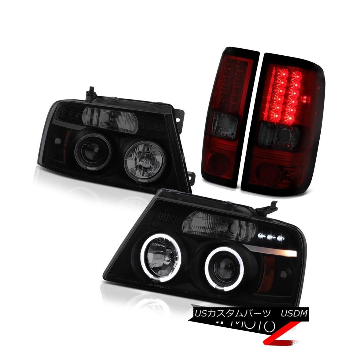 ヘッドライト 2004-2008 Ford F150 Lobo Halo Headlight DRL Sinister Black LED Bulbs Tail Lights 2004-2008 Ford F150 Lobo HaloヘッドライトDRL SinisterブラックLED電球テールライト