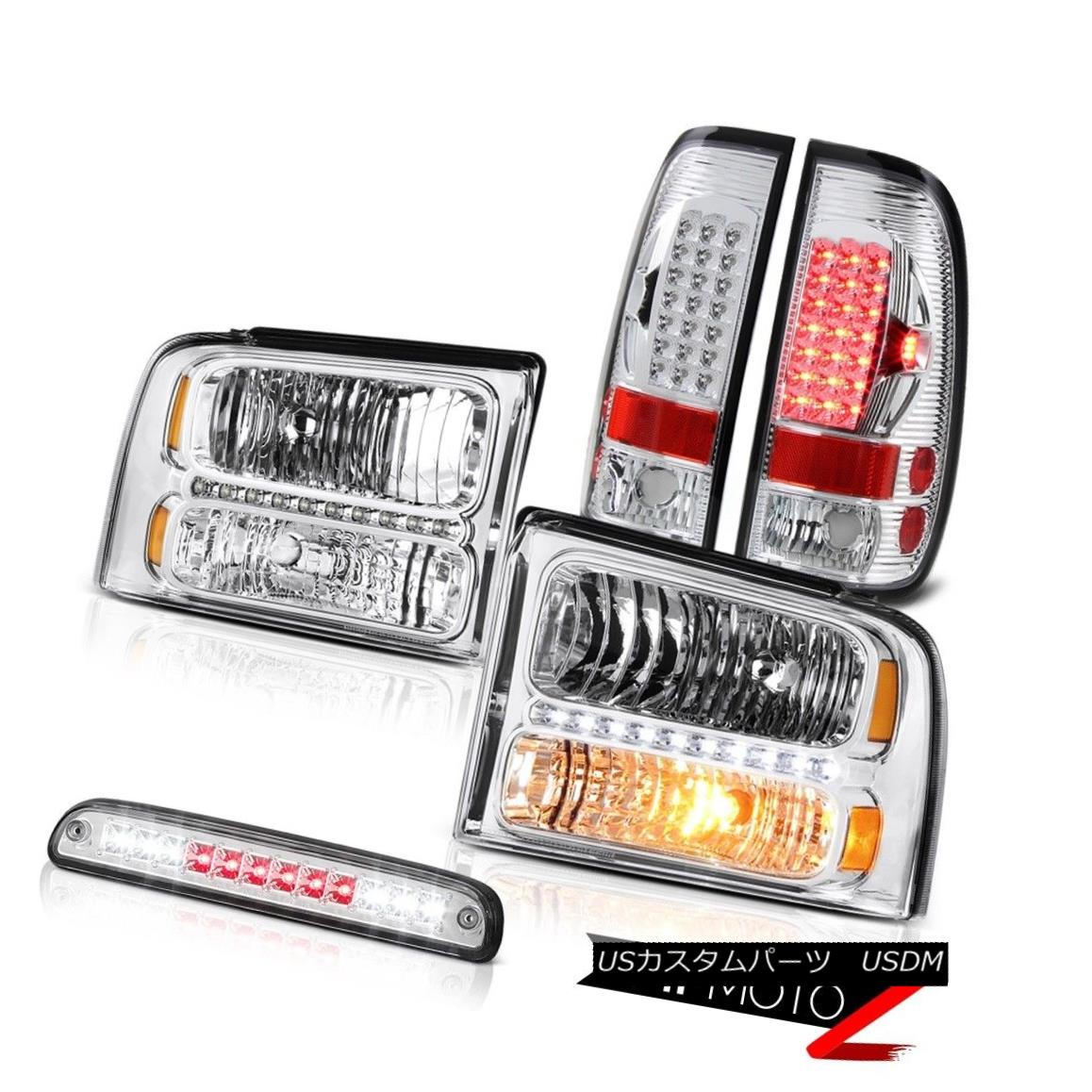 ヘッドライト 2005 2006 2007 F250 6.0L Crystal Headlights LH RH LED Taillamps Chrome 3rd Brake 2005 2006 2007 F250 6.0LクリスタルヘッドライトLH RH LEDタイルランプクローム第3ブレーキ
