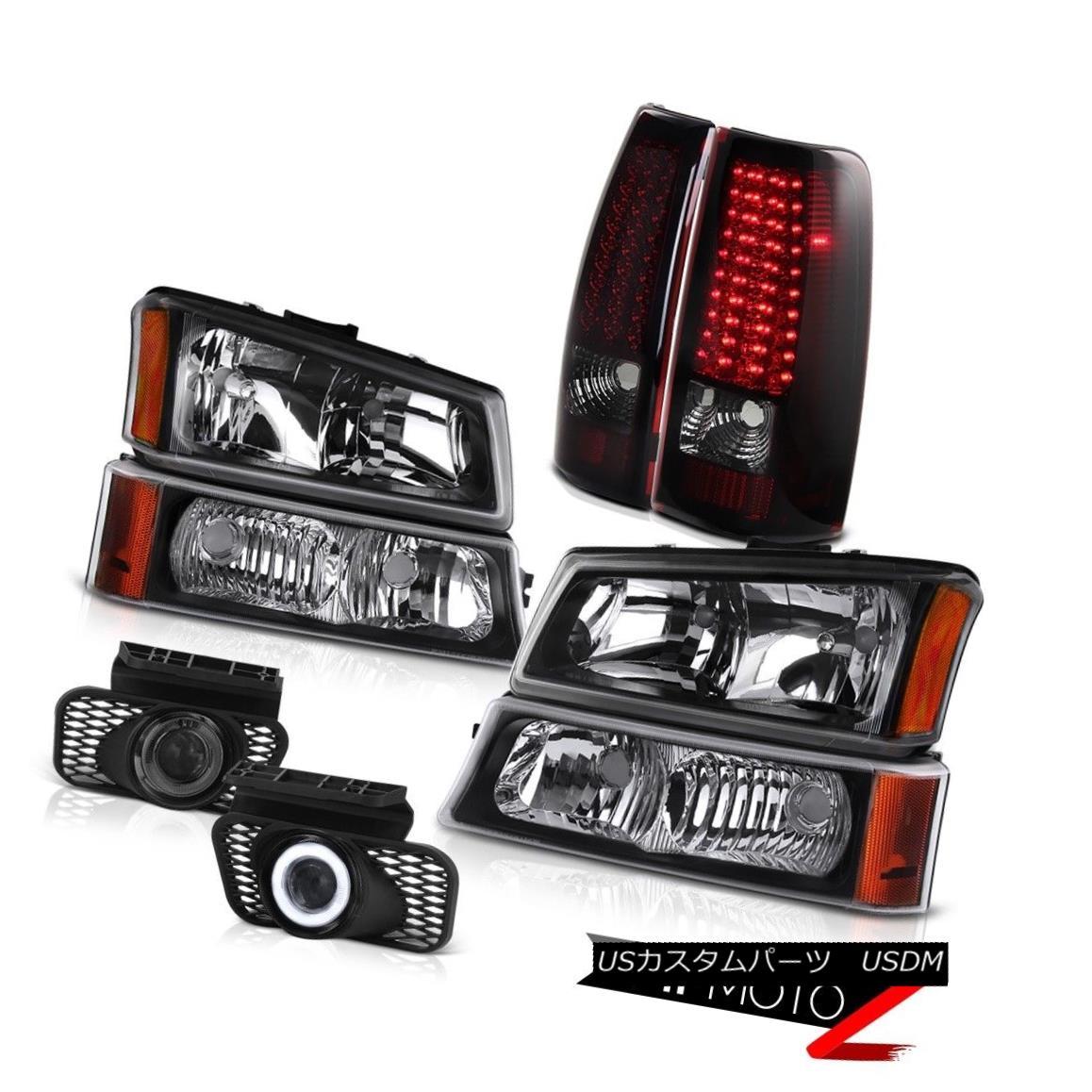 ヘッドライト Black Headlights Parking Lamp LED Tail Lights Projector Fog 03-06 Silverado 6.0L ブラックヘッドライトパーキングランプLEDテールライトプロジェクターフォグ03-06 Silverado 6.0L