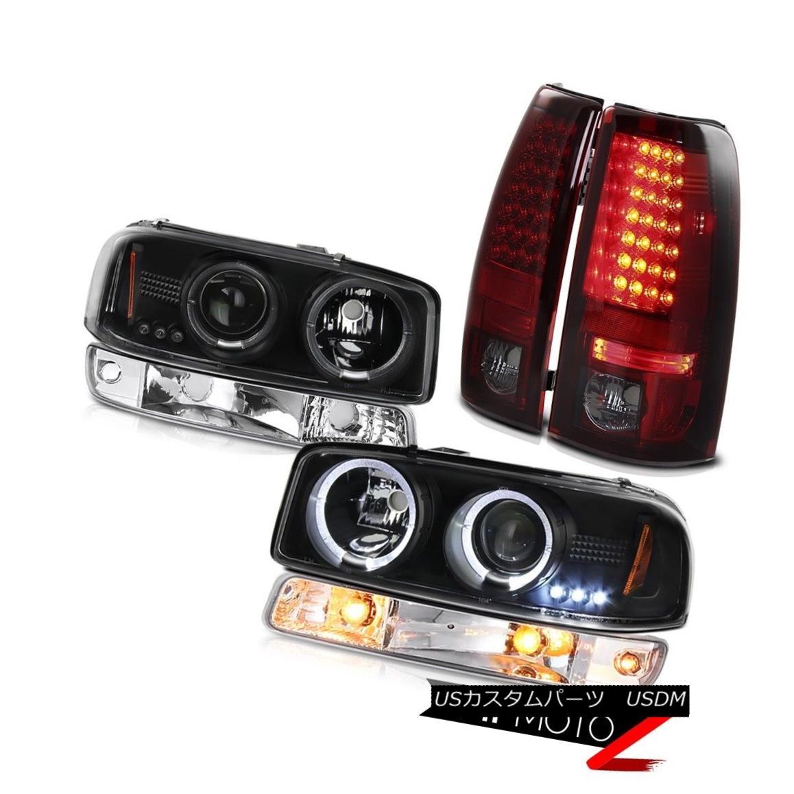 ヘッドライト 99-02 Sierra 3500HD Rear led brake lights signal lamp matte black headlamps LED 99-02 Sierra 3500HDリアライト付きブレーキライト信号ランプマットブラックヘッドランプLED