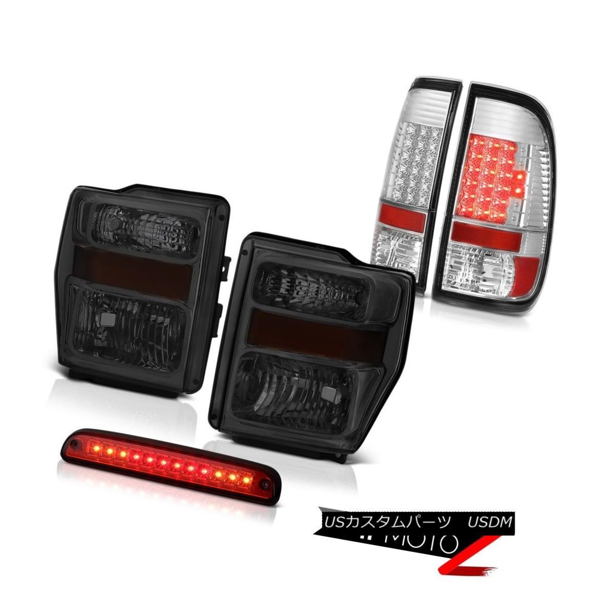 ヘッドライト 08-10 F350 Turbo Diesel Dark Smoke Headlights Chrome LED Taillamps Brake Cargo 08-10 F350ターボディーゼルダークスモークヘッドライトクロームLEDタイルランプブレーキカーゴ