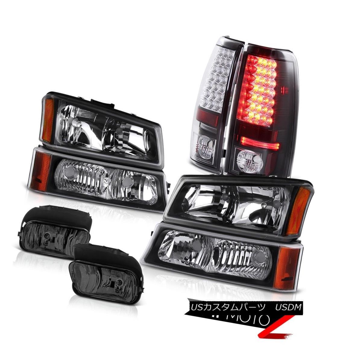 ヘッドライト Silverado DuraMax 6.6L Crystal Black Headlights SMD Brake Tail Driving Foglamp Silverado DuraMax 6.6Lクリスタルブラックヘッドライトとブレーキテール駆動フォグランプ