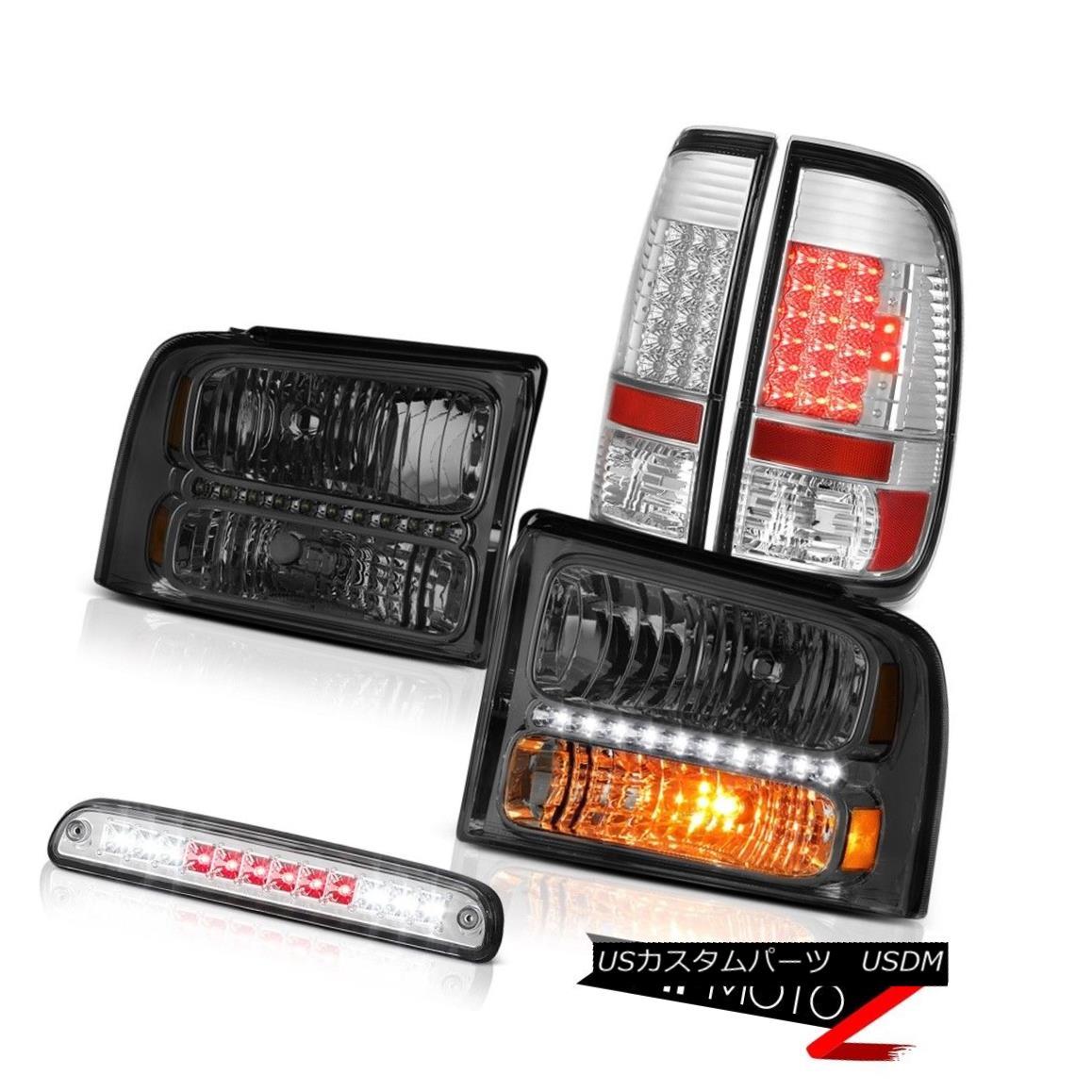 ヘッドライト 2005-2007 F250 Amarillo Smoke Headlights LED Brake Tail Lights Roof Stop Chrome 2005-2007 F250アマリロ煙ヘッドライトLEDブレーキテールライトルーフストップクローム