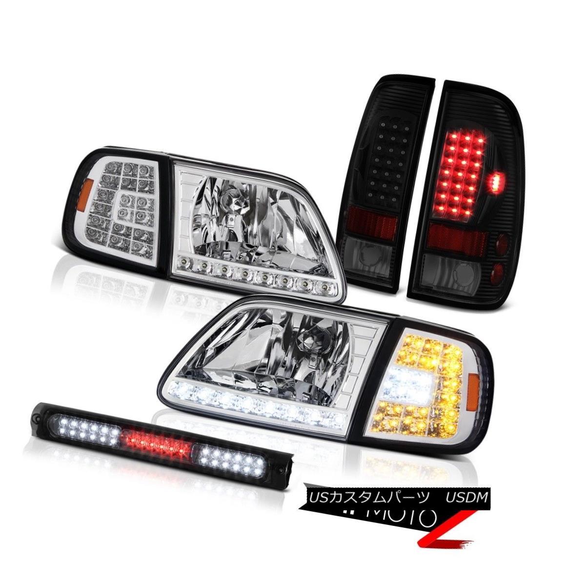 ヘッドライト 97-03 F150 Lariat Chrome Headlights Graphite Smoke Third Brake Lamp Rear Lights 97-03 F150ラリアトクロームヘッドライトグラファイトスモーク第3ブレーキランプリアライト