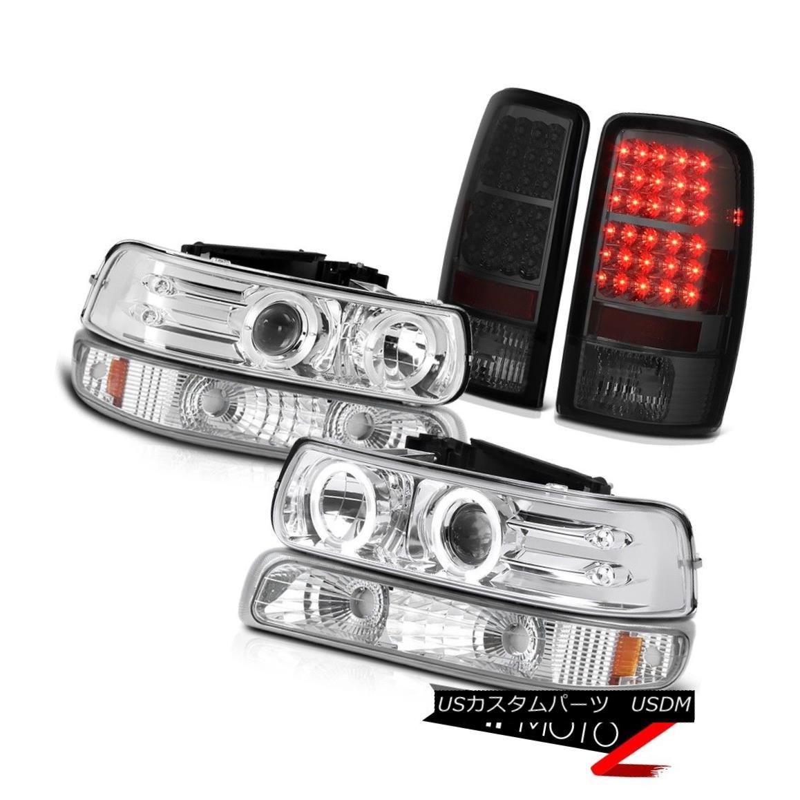 ヘッドライト 2000-2006 Suburban 5.7L Halo LED Projector Headlights Dark Brake Tail Lights 2000-2006郊外5.7L Halo LEDプロジェクターヘッドライトダークブレーキテールライト