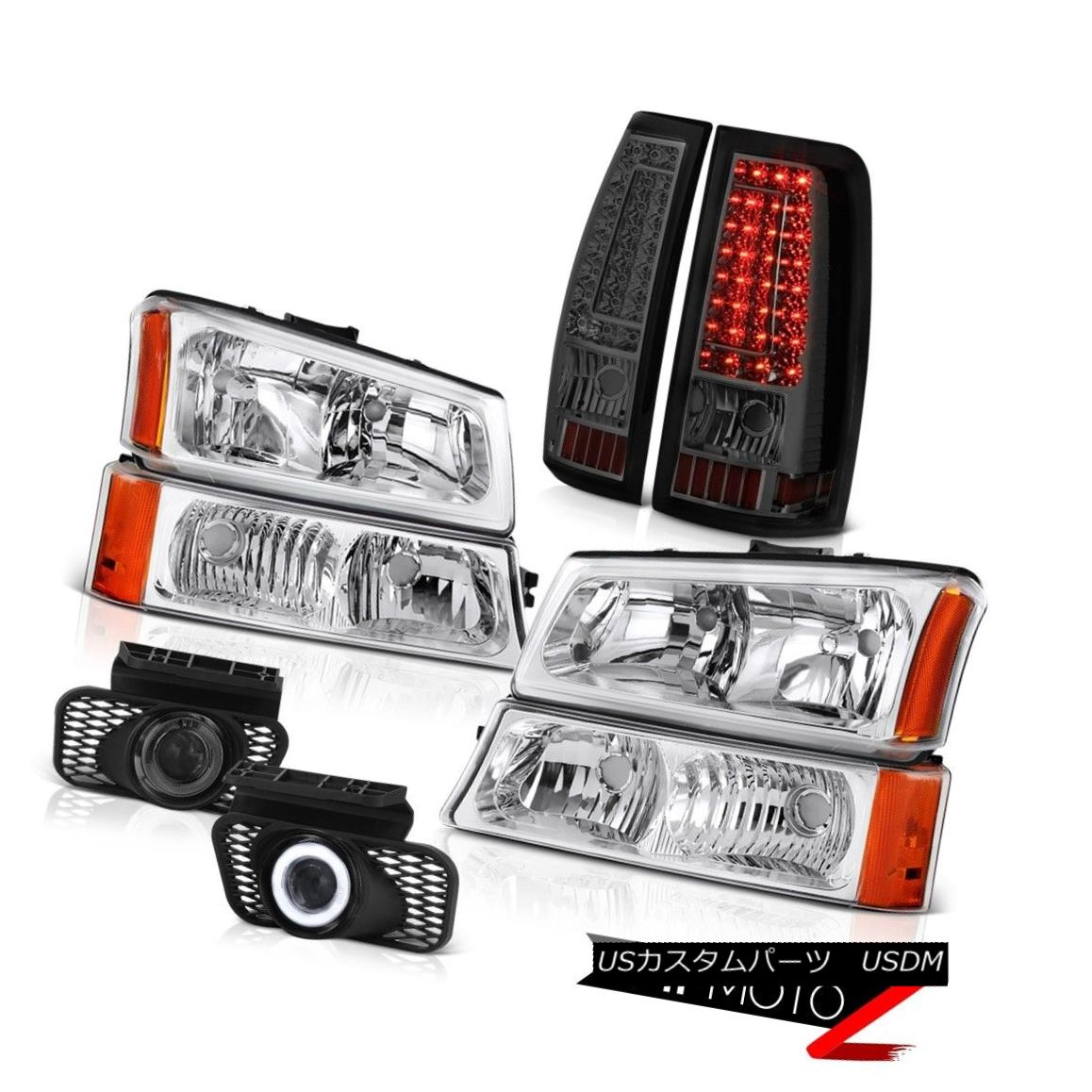 ヘッドライト 2003-2006 Chevy Silverado Titanium Smoke Fog Lights Rear Brake Chrome Headlamps 2003-2006シボレーシルバラードチタンスモークフォグライトリアブレーキクロームヘッドランプ