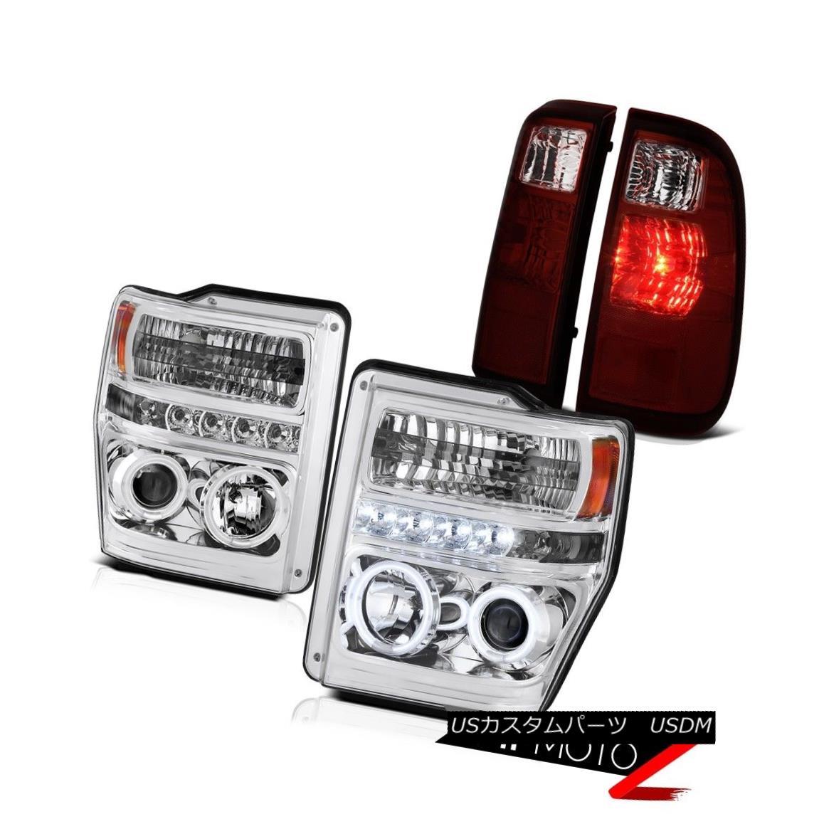 ヘッドライト 2008-2010 F250 F350 King Ranch Projector Headlight CCFL Angel Eye LED Tail Light 2008-2010 F250 F350キングランチプロジェクターヘッドライトCCFLエンジェルアイLEDテールライト