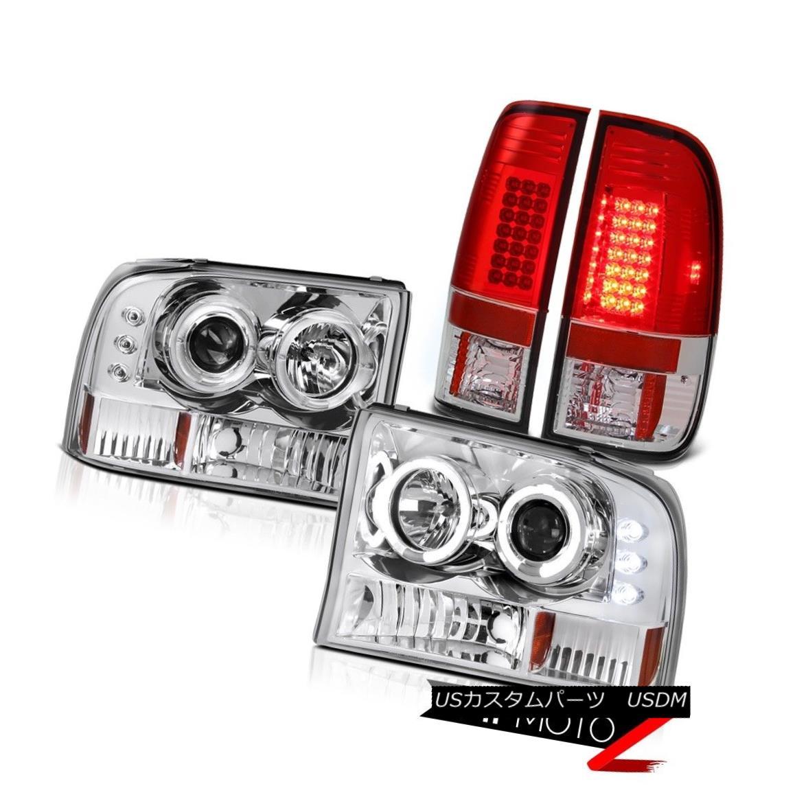 ヘッドライト HaLo Projector Crystal Headlight+Red/Clear LED Tail Light Ford 99-2004 F250/F350 HaLoプロジェクタークリスタルヘッドライト+レッド/  Clear LEDテールライトFord 99-2004 F250 / F350
