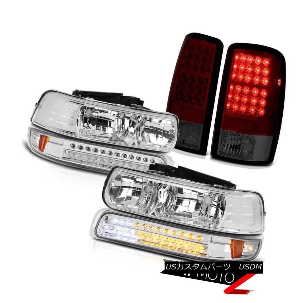 ヘッドライト Crystal Clear Headlights Parking Smokey Red Tail Lights 2000-2006 Suburban 6.0L クリスタルクリアヘッドライトパーキングスモーキーレッドテールライト2000-2006郊外6.0L