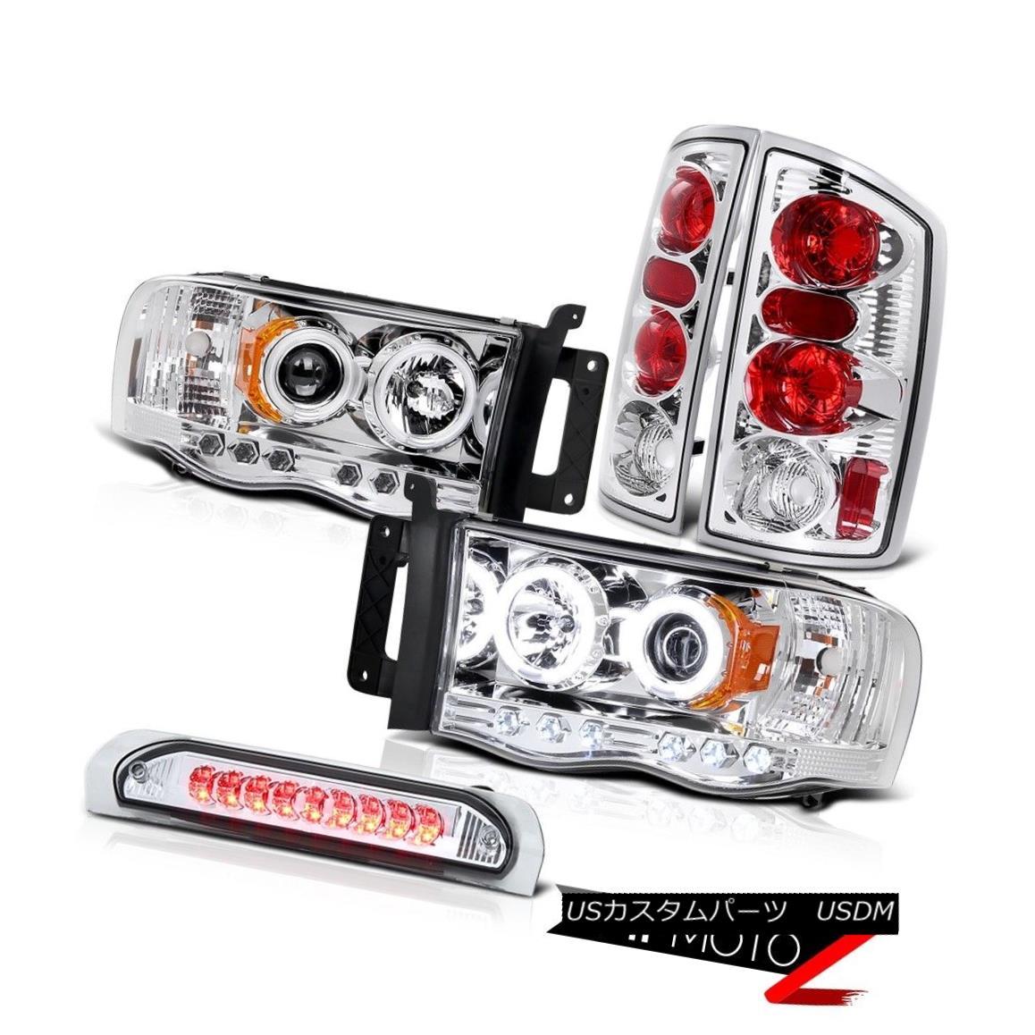 ヘッドライト CCFL Halo Projector Headlight+Chrome Tail Lamp+3rd Brake Light 02-2005 Dodge Ram CCFL Haloプロジェクターヘッドライト+クロ meテールランプ+ 3rdブレーキライト02-2005 Dodge Ram