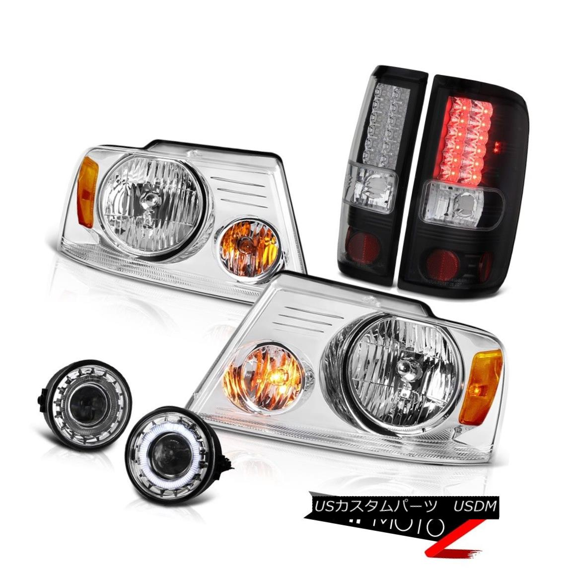 ヘッドライト 2006-2008 F150 PickUp Truck Headlight+LED BLK Tail Lights+Angel Eye Fog Lights 2006-2008 F150ピックアップトラックヘッドライト+ LED BLKテールライト+エンジェルアイフォグライト