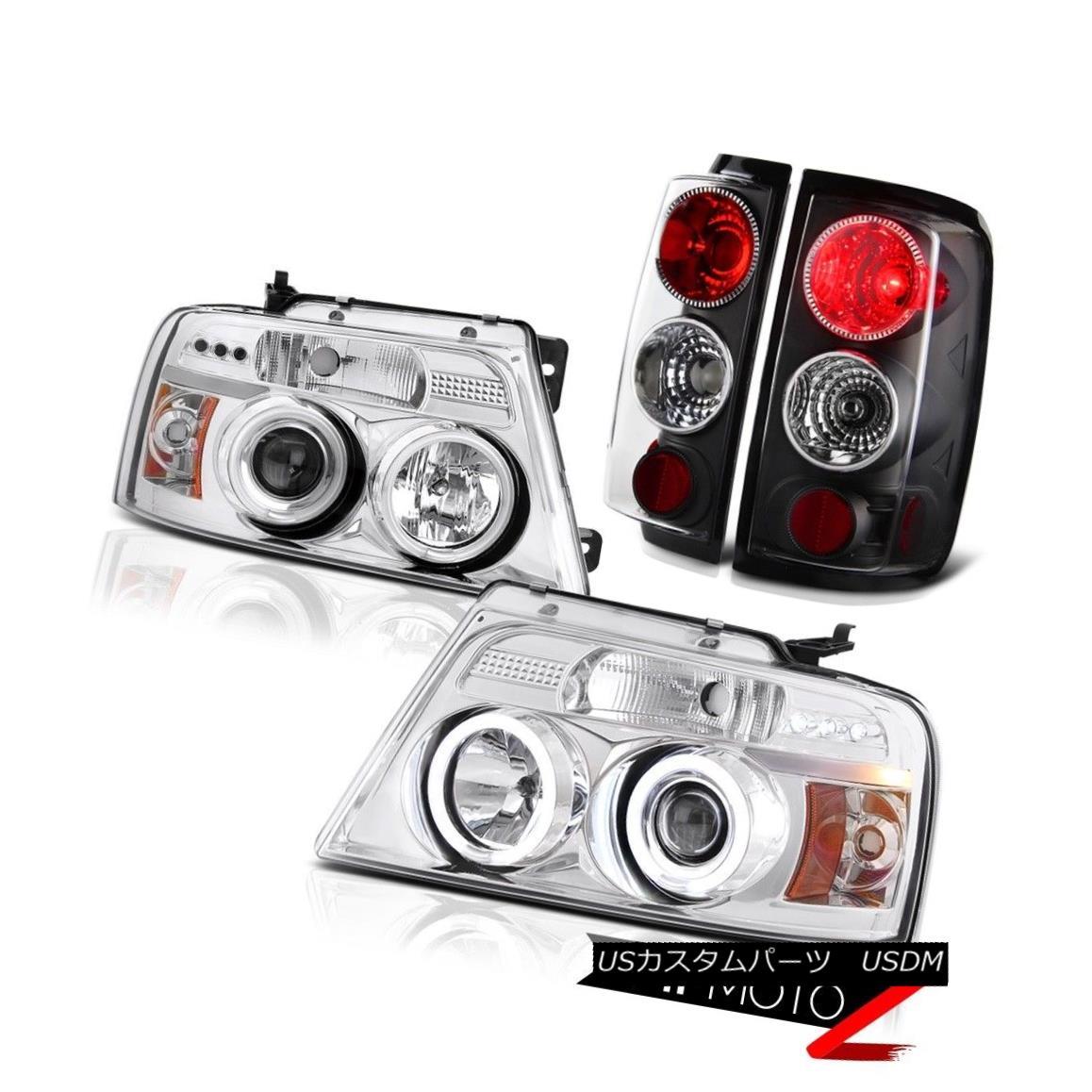 ヘッドライト Chrome CCFL Halo Rim+LED Headlights+Black Tail Lights 2004-2008 Ford F150 Truck クロームCCFLハローリム+ LEDヘッドライト+ Bla  ckテールライト2004-2008 Ford F150 Truck