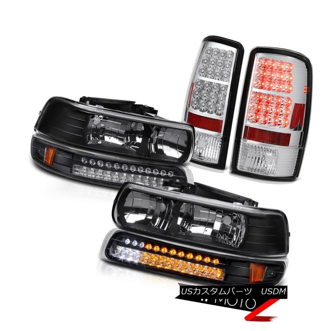 ヘッドライト Clear/Black Headlights LED Parking Chrome Taillight 2001-2006 Chevy Suburban Z71 クリア/ブラックヘッドライトLEDパーキングクロームティアライト2001-2006シボレー郊外Z71