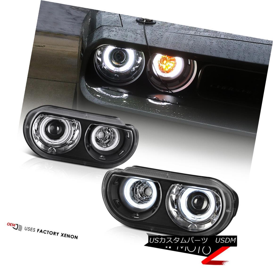 ヘッドライト [For Xenon HID Model] 2008-2014 Dodge Challenger CCFL Halo Black Headlights PAIR [キセノンHIDモデル用] 2008-2014ダッジチャレンジャーCCFLハローブラックヘッドライトペア