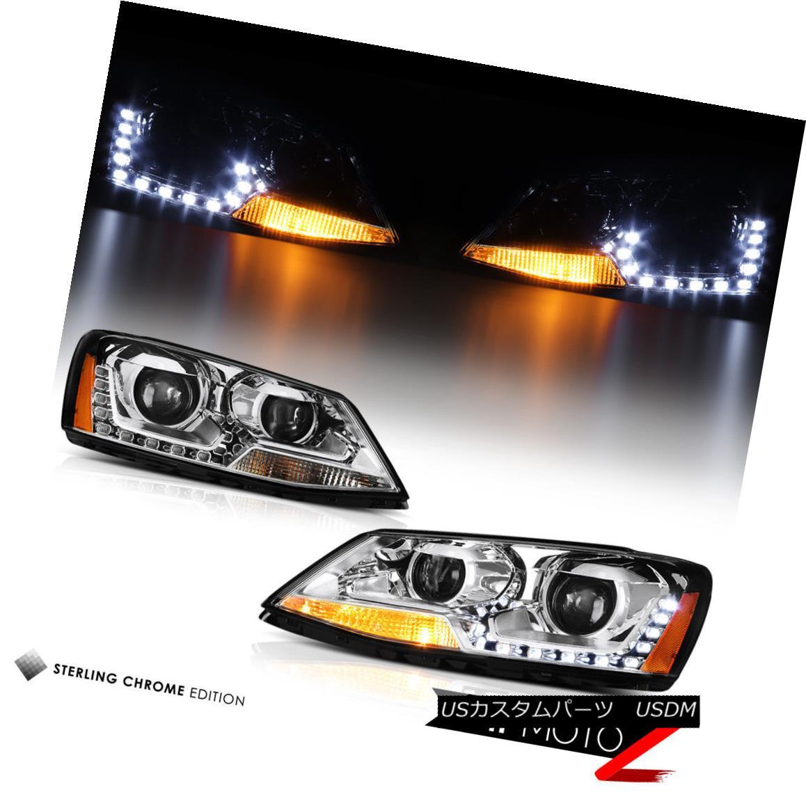 ヘッドライト 2011-2014 Volkswagen Jetta LED DUAL Projector Chrome Housing Headlights Assembly 2011-2014フォルクスワーゲンジェッタLEDデュアルプロジェクタークロームハウジングヘッドライトアセンブリ