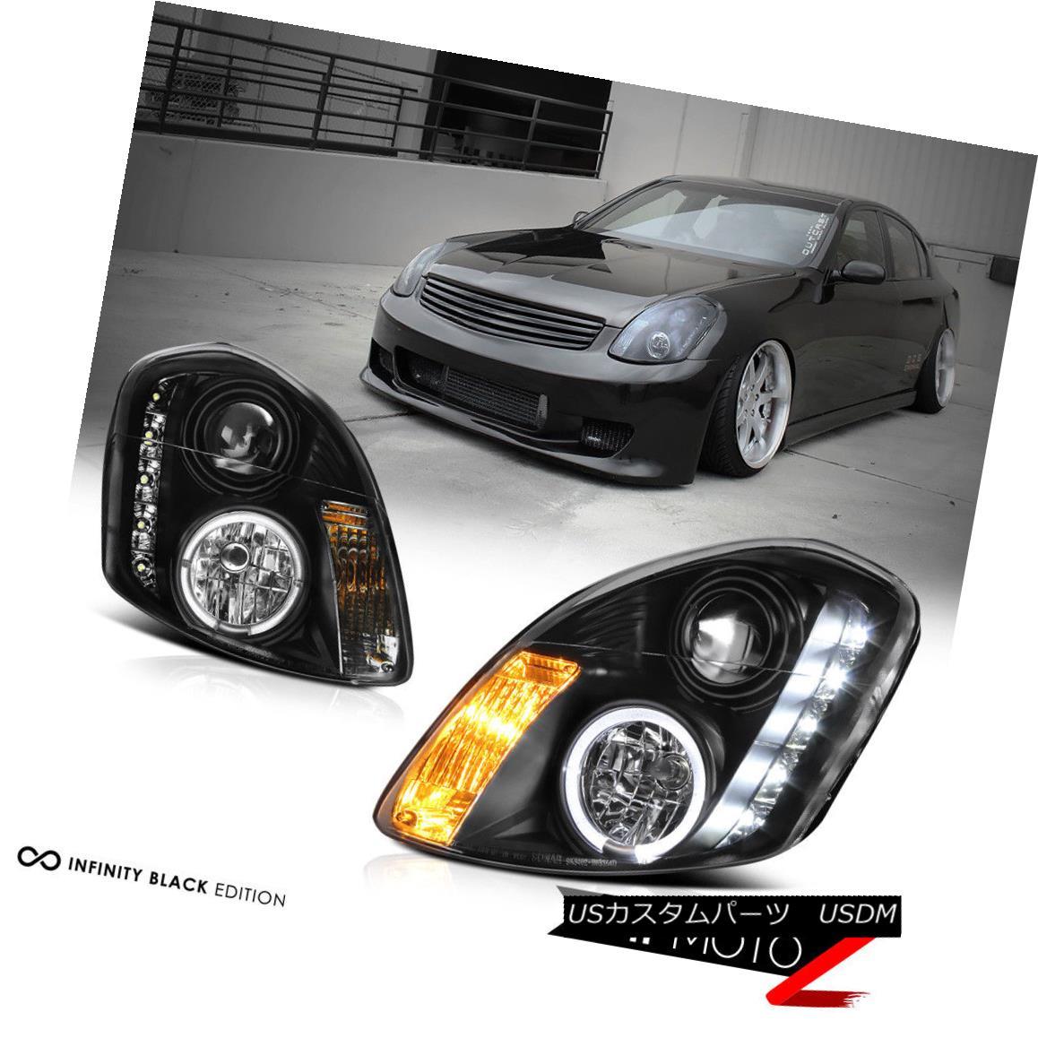 ヘッドライト For 2003-2004 G35 4 DR Sedan Black Projector Halo LED Headlight Lamp Left Right 2003-2004 G35 4 DRセダンブラックプロジェクター用Halo LEDヘッドライトランプ左右
