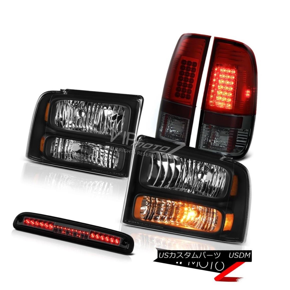 ヘッドライト 2005 2006 2007 Ford F250 6.0L Black Headlight SMD Tail Light LED 3rd Brake Smoke 2005 2006 2007フォードF250 6.0LブラックヘッドライトSMDテールライトLED第3ブレーキ煙