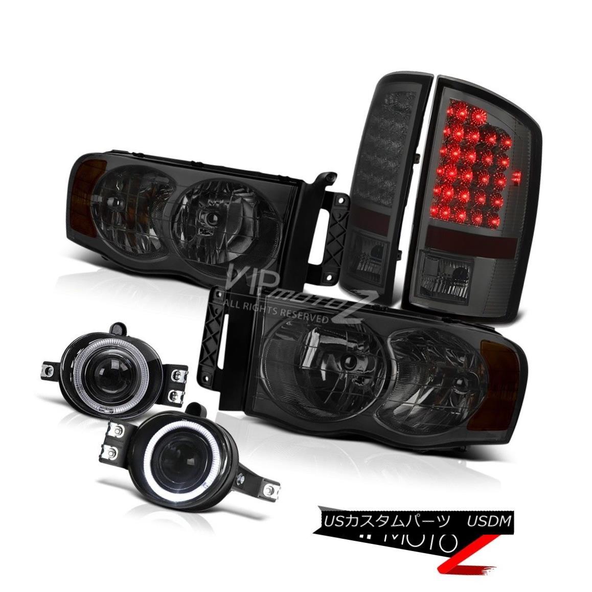 ヘッドライト 2002-2005 Dodge Ram 1500 SET SMOKE HeadLight SMOKE LED TAIL LIGHT HALO FOG Lamp 2002-2005ダッジラム1500セットSMOKEヘッドライトSMOKE LEDテールライトハローFOGランプ