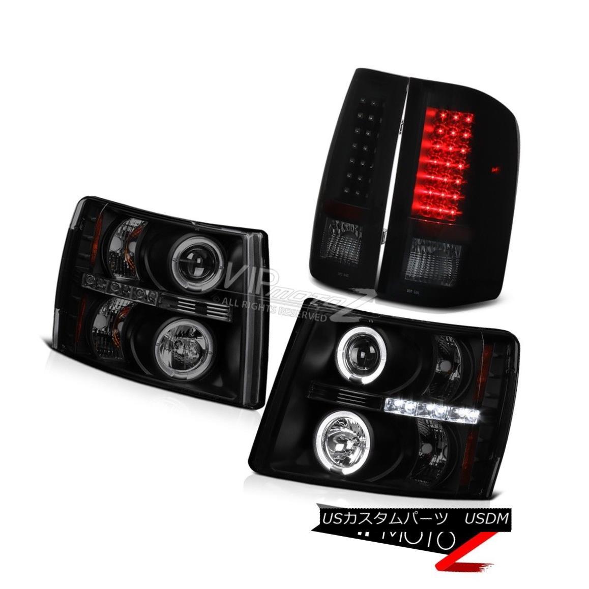 ヘッドライト 2007-2013 Chevy Silverado SINISTER BLACK Halo LED Projector Headlight Tail Light 2007-2013シボレーシルバラードシネスターブラックヘイローLEDプロジェクターヘッドライトテールライト
