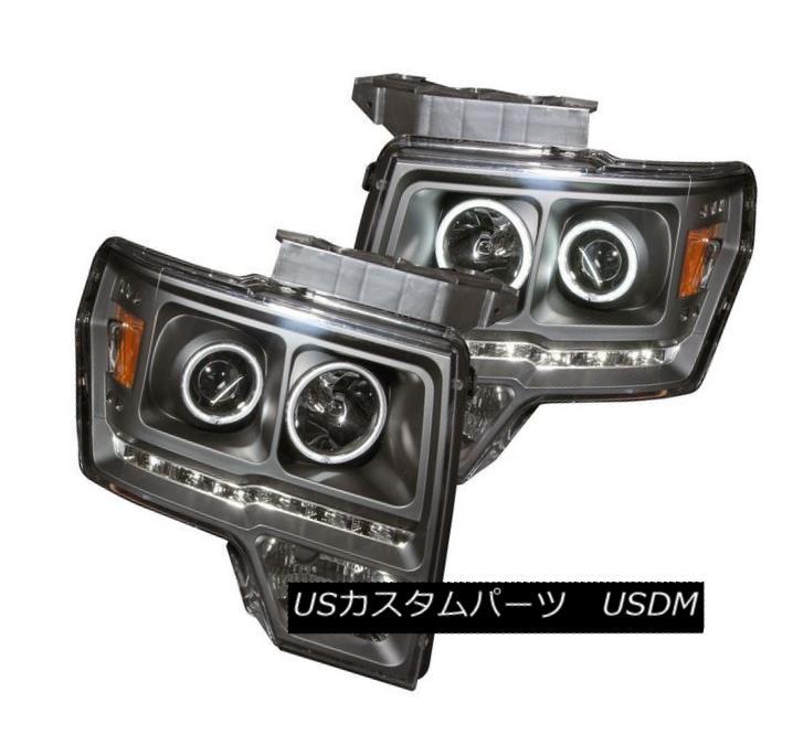 ヘッドライト ANZO 111298 Set of 2 Black LED/CCFL Halo Projectjor Headlights for Ford F-150 ANZO 111298フォードF-150用2個のブラックLED / CCFLハロープロジェクトヘッドライトセット