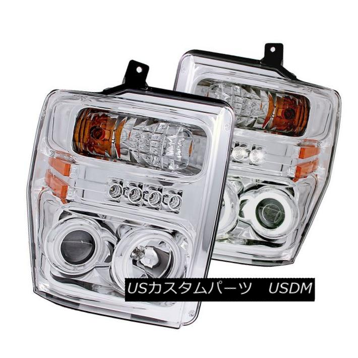 ヘッドライト ANZO 111167 Set of 2 Chrome CCFL Halo Projector Headlights for Ford Super Duty ANZO 111167フォードスーパーデューティー用2クロームCCFLハロープロジェクターヘッドライトセット