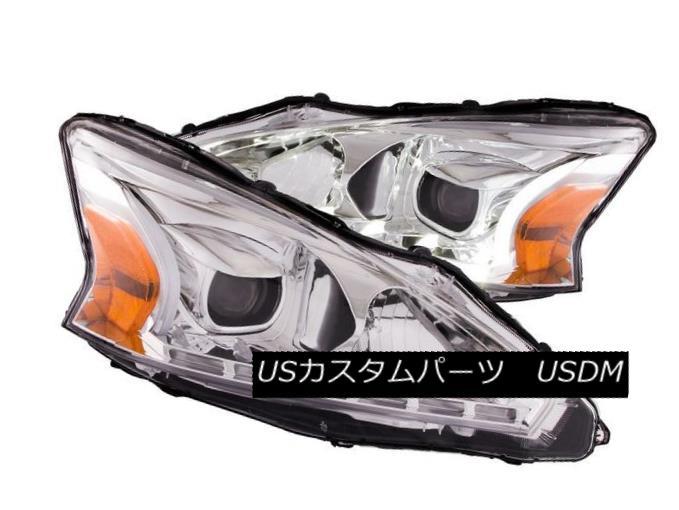 ヘッドライト Anzo 121501 Set of 2 Chrome Plank Style Projector Headlights for Nissan Altima Anzo 121501日産アルティマ用クロームプランクスタイルプロジェクターヘッドライトセット