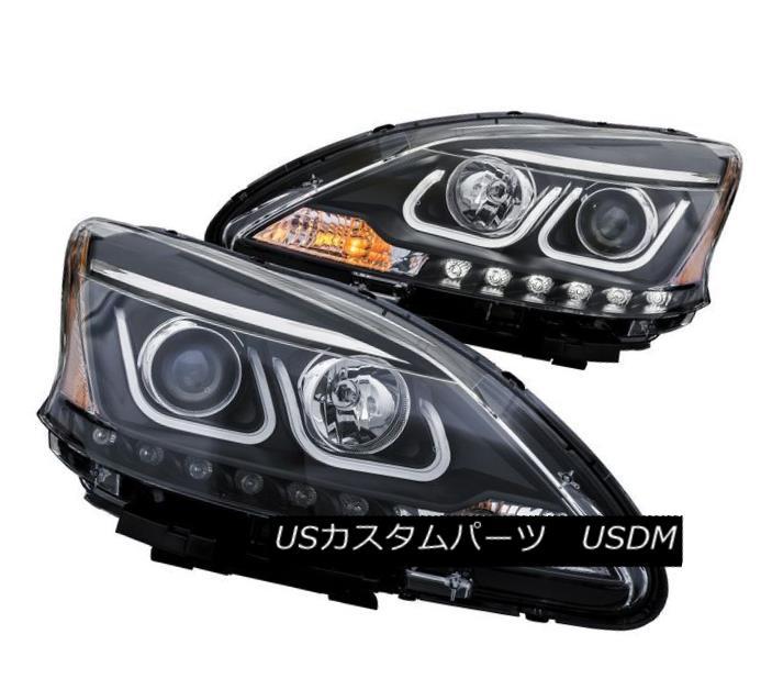 ヘッドライト Anzo 121487 Black U-Bar Style Projector Headlight Pair for Nissan Sentra Nissan Sentra用のアンゾ121487ブラックUバースタイルプロジェクターヘッドライトペア