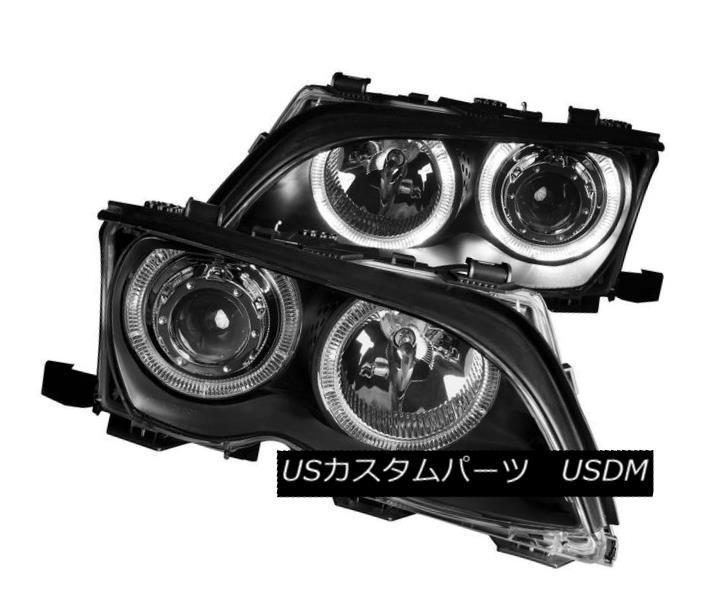 ヘッドライト ANZO 121140 Set of 2 Black Halo Projector Headlights for 02-05 BMW 3-Series 4DR ANZO 121140 02-05 BMW 3シリーズ4DR用ブラックハロープロジェクターヘッドライト2セット