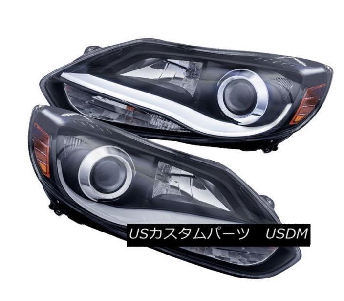 ヘッドライト Anzo 121490 Set of 2 Black Plank Style Projector Headlights for Ford Focus Anzo 121490フォードフォーカス用ブラックプランクスタイルプロジェクターヘッドライト2セット