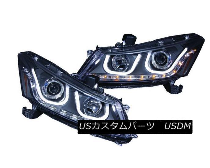 ヘッドライト ANZO 121483 Set of 2 Black U-Bar Style Projector Headlights for 08-12 Accord ANZO 121483 08-12アコードの2つのブラックUバースタイルのプロジェクターヘッドライトのセット