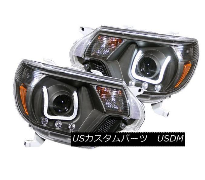 ヘッドライト ANZO 111290 Set of 2 Black U-Bar Style Projector Headlights for Toyota Tacoma ANZO 111290トヨタタコマ用ブラックUバー・スタイル・プロジェクター・ヘッドライト2個セット