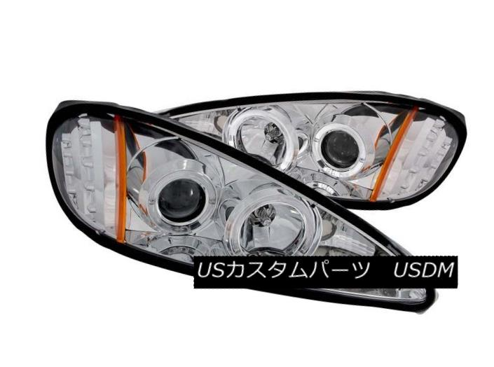ヘッドライト ANZO 121356 Set of 2 Chrome Halo Projector Headlights for 99-05 Pontiac Grand AM ANZO 121356 99-05 Pontiac Grand AM用クロームハロープロジェクターヘッドライトセット