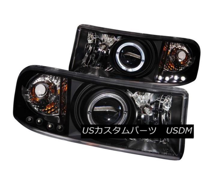 ヘッドライト ANZO 111196 Set of 2 Black Halo Projector Headlights for 94-02 Ram 1500/2500 ANZO 111196 94-02ランプ用ブラックハロープロジェクターヘッドライトセット1500/2500
