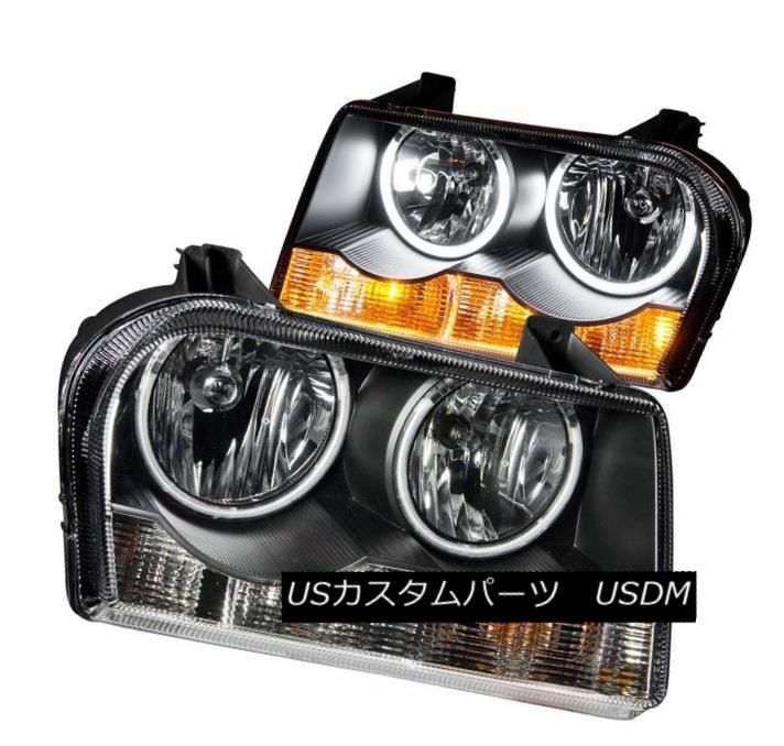 ヘッドライト ANZO 121138 Set of 2 Black CCFL Halo Projector Headlights for 05-10 Chrysler 300 ANZO 121138 05-10クライスラー300用の黒色CCFLハロープロジェクターヘッドライト2個のセット