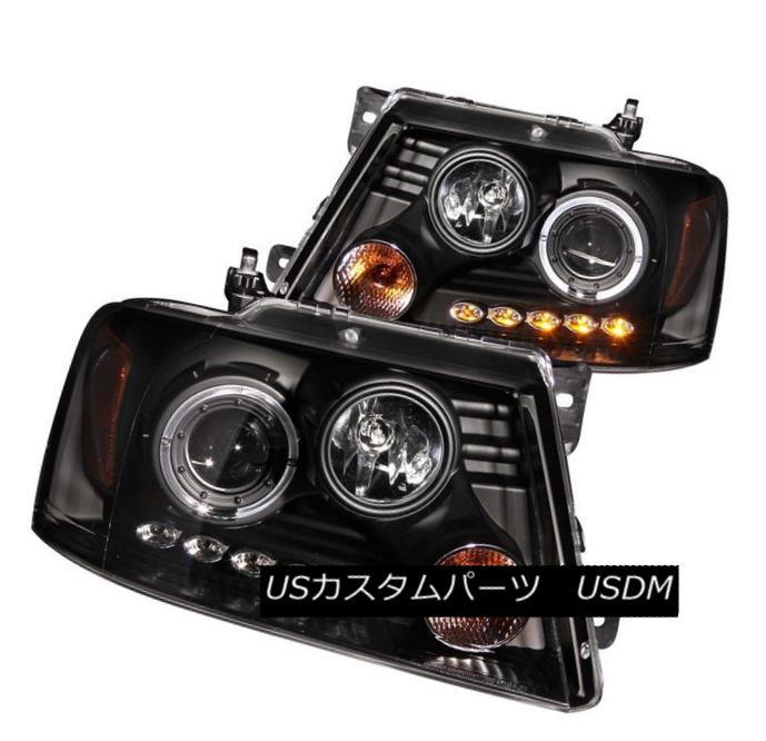 ヘッドライト ANZO 111028 Set of 2 Black Halo Projector Headlights for 04-08 Ford F-150 ANZO 111028 04-08 Ford F-150用ブラックハロープロジェクターヘッドライト2個セット