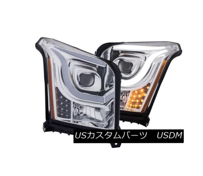 ヘッドライト Anzo 111343 Pair of Plank Style Chrome/Amber Projector Headlights for Yukon XL Anzo 111343 Yukon XL用プレートスタイルのクロム/アンバープロジェクターヘッドライト