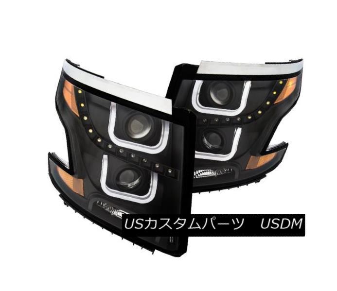 ヘッドライト Anzo 111340 Pair of U-Bar Style Black Projector Headlights for Tahoe/Suburban Anzo 111340タホー/郊外用のU字型黒プロジェクターヘッドライトのペア